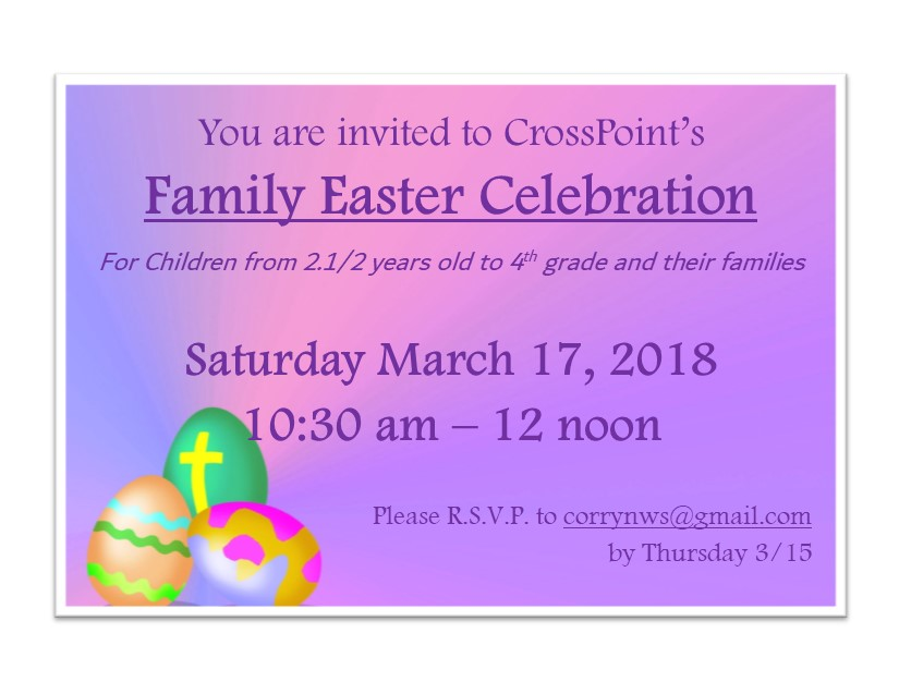 Saturday, March 17, 2018 Children's Easter Celebration